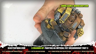 3 colours up: Painting an Imperial Fist Dreadnought part 3