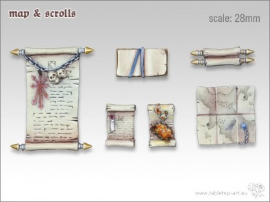 28mm Maps and Scrolls