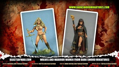 Wolves and Warrior Women from Dark Sword Miniatures