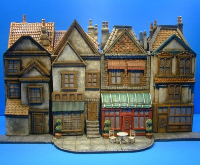 Bookcase Buildings with Sidewalk