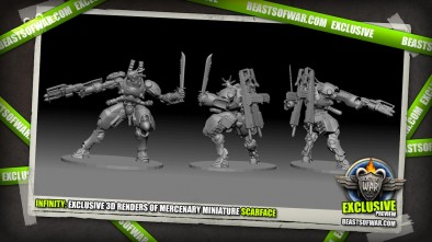 Infinity: Exclusive 3D Renders of Mercenary Miniature Scarface