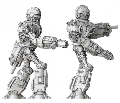 Dominion of Canada - Steele Class Robot with Rocket arm (left) and Flamethrower arm (right)
