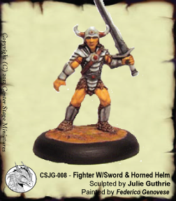 Fighter with Shield & Horned Helm
