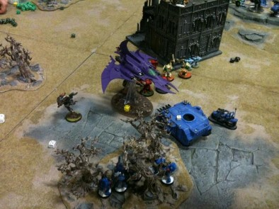 Space Wolves and Salamanders vs Orks and Dark Eldar