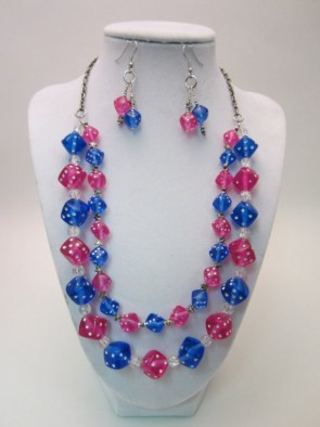 Dice Necklace Red and Blue