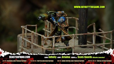 Game: Infinity Army: Ariadna Model(s): Scots Guards (Missile Launcher)