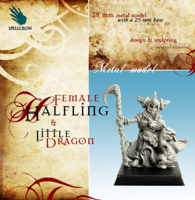 Female Halfling with Little Dragon