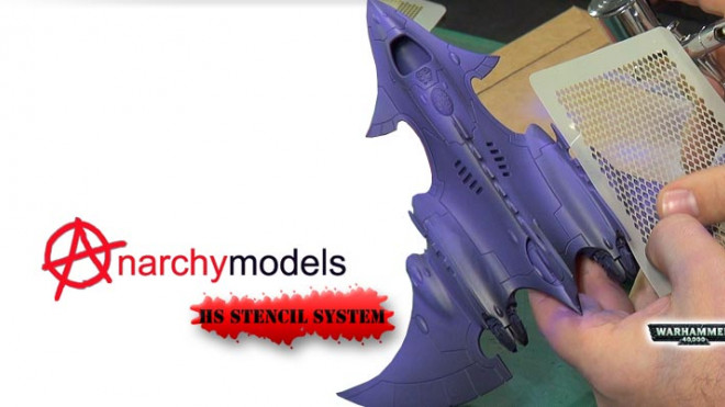 Airbrushing 40K Wraithfighter with Anarchy Models Stencils