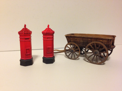 Post Boxes & Wooden Cart
