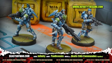 Game: Infinity Army: PanOceania Model(s): Akalis Sikh Commandos (Spitfire)