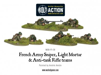 Bolt Action French Army Sniper, Light Mortar & Anti-tank Rifle teams