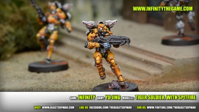 Game: Infinity Army: Yu Jing Model(s): Tiger Soldier, with Spitfire