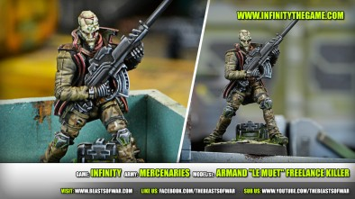 "Game: Infinity Army: Mercenaries Model(s): Armand ""Le Muet"" Freelance Killer"