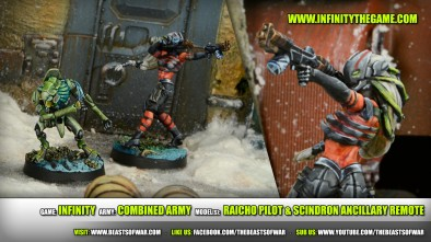 Game: Infinity Army: Combined Army Model(s): Raicho Pilot & Scindron Ancillary Remote