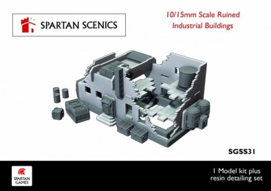15mm Ruined Industrial Building