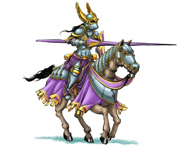 Knight of Valisar with helmet and lance