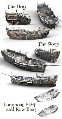 The Lost Islands Ships - Printable Scenery