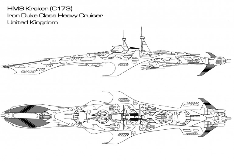 The <i>Iron Duke</i> class heavy cruiser is something of a paradox in the Royal Navy.  On the one hand, it is proof that the Royal Navy has finally come to terms with the fact that the <i>Titan</i> class needs to be replaced after nearly forty years in service.  On the other hand, the <i>Iron Dukes</i> are really little more than upgunned versions of the <i>Titans</i> they are meant to replace.  In fact, in some ways the <i>Iron Dukes</i> are inferior to the <i>Titans</i>, at least in regards to protection.  However, the <i>Iron Duke</i> embraces the notion that the best form of defense is a good offense, and in so doing has mounted a truly devastating array of firepower.  Note that the old Model 33 torpedoes have finally been replaced by the newer Model 41 gravitic torpedoes mounted on the <i>Osprey</i> class light carriers.  Furthermore, these have been mounted in swivel-racks that can turn with the ship's main gunnery turrets.  While this means that the <i>Iron Duke</i> can never fire a full torpedo spread forward or aft (as is traditionally the case with such weapons), it does mean that the cruiser can unload these weapons when already presenting a broadside, clearly her preferred vantage of engagement.  It's in this broadside, after all, where the <i>Iron Duke</i> really shines.  The four double turrets of 10-gw rail guns can match those mounted of ship classes like the Imperial Prussian <i>Leopold</i>, Holy Russian <i>Slava</i>, and Japanese <i>Chikuma</i>, especially daunting since they are slaved to the new Hawkinge Electronics 01A fire control system.  Furthermore, the 6 MgKv lasers formerly mounted with the <i>Titans</i> have been replaced with larger 8 MgKv models.  The <i>Iron Dukes</i> are all named for famous military leaders (especially naval commanders) in Britain's history, except for the HMS <i>Kraken</i>, recommissioned to carry the name of the famous ship of the <i>Titan</i> class.