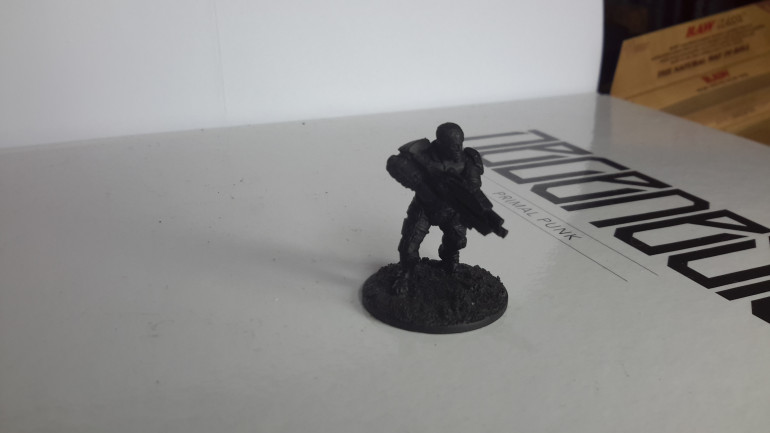 Sorry picture is a bit dark, this will represent a Hel veticas (a militaristic swiss faction) will be looking for some more suitable figures, possibly manic or Hassle free corporate troops.