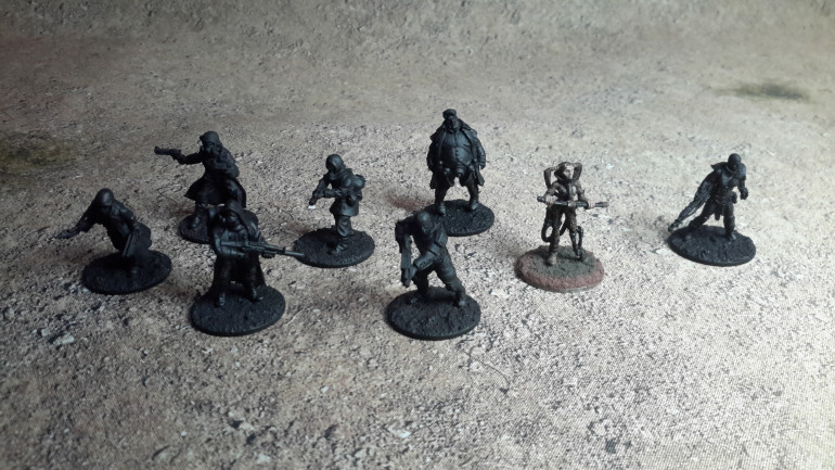 Left to right Brother Vinni miniatures, Hasslefree, and an old Freebooter miniature (the only official figure released) and Crooked Dice