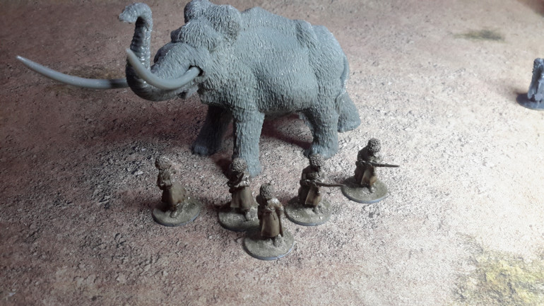 Heroes of the Dark Age Mammoth and some Copplestone Castings Russians to be converted to create the Clan from the below image.