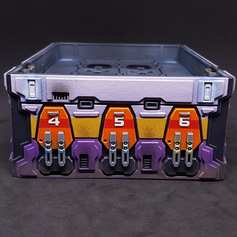 Side of the purple Power Hub showing the lighting details