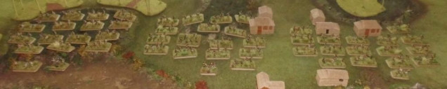 6 infantry platoons forming 3 companies (blue, red and green)