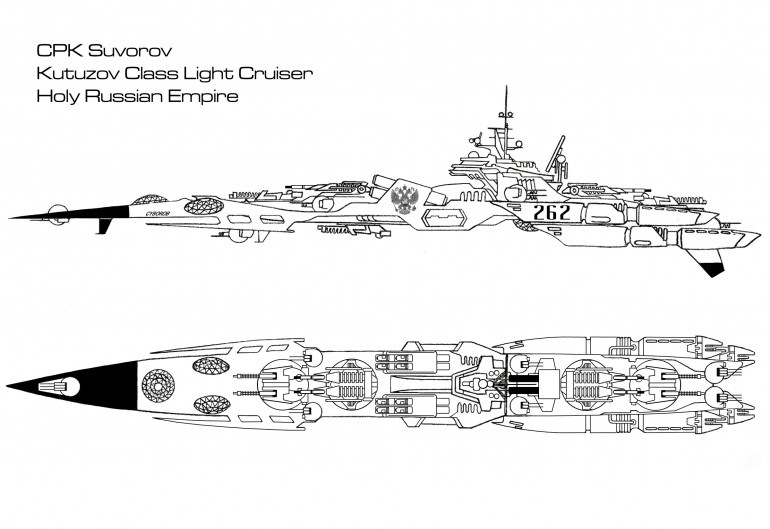 Named for famous field marshals and admirals of Russian and Soviet history, the Kutuzov class of light cruiser represents a new step forward in the Holy Russian Navy, an attempt to break with old gun-heavy designs like the Slava, Sovnya, and Peter the Great.  Instead the Kutuzov mounts entirely particle-based weaponry.  Among these armaments is a formidable array of new RSA Molniya 550 (Lightning) model electron particle cannons, easily capable of stripping a destroyer bare of armor with a single volley at up to a thousand kilometers if fired from a full broadside.  But even these mounts are only meant to support the Kutuzov's true weaponry, four immense Tunguska Arms 790A 40-kilogram thorium plasma projectors, mounted in two double turrets.  Combined with the EPCs, these give the Kutuzov a truly hellish punch at close range.  Any captains who come up against one of these warships is best advised to try and keep the engagement ranges as long as possible.  For all its strength, however, the Kutuzov of course has weaknesses as well.  Shielding and speed are only adequate, and the Bozhorshkin Electronics sensor and targeting suite is hardly top of the line.  The torpedo array is also a little dated, although with eight tubes in a forward spread, the Kutuzov is almost guaranteed to hit with at least one of them.  In all, the Kutuzov is a robust, pragmatic, and well-balanced design.  In its weaker aspects it is unspectacular without being poor, but its firepower makes it a frightening contender for its class, particularly at close range.  Eighteen units of the class have been built so far, with a slightly modernized variant on the drawing boards.  They have seen combat in at least three Strategic Command Sectors, where they have earned the respect of friend and foe alike.