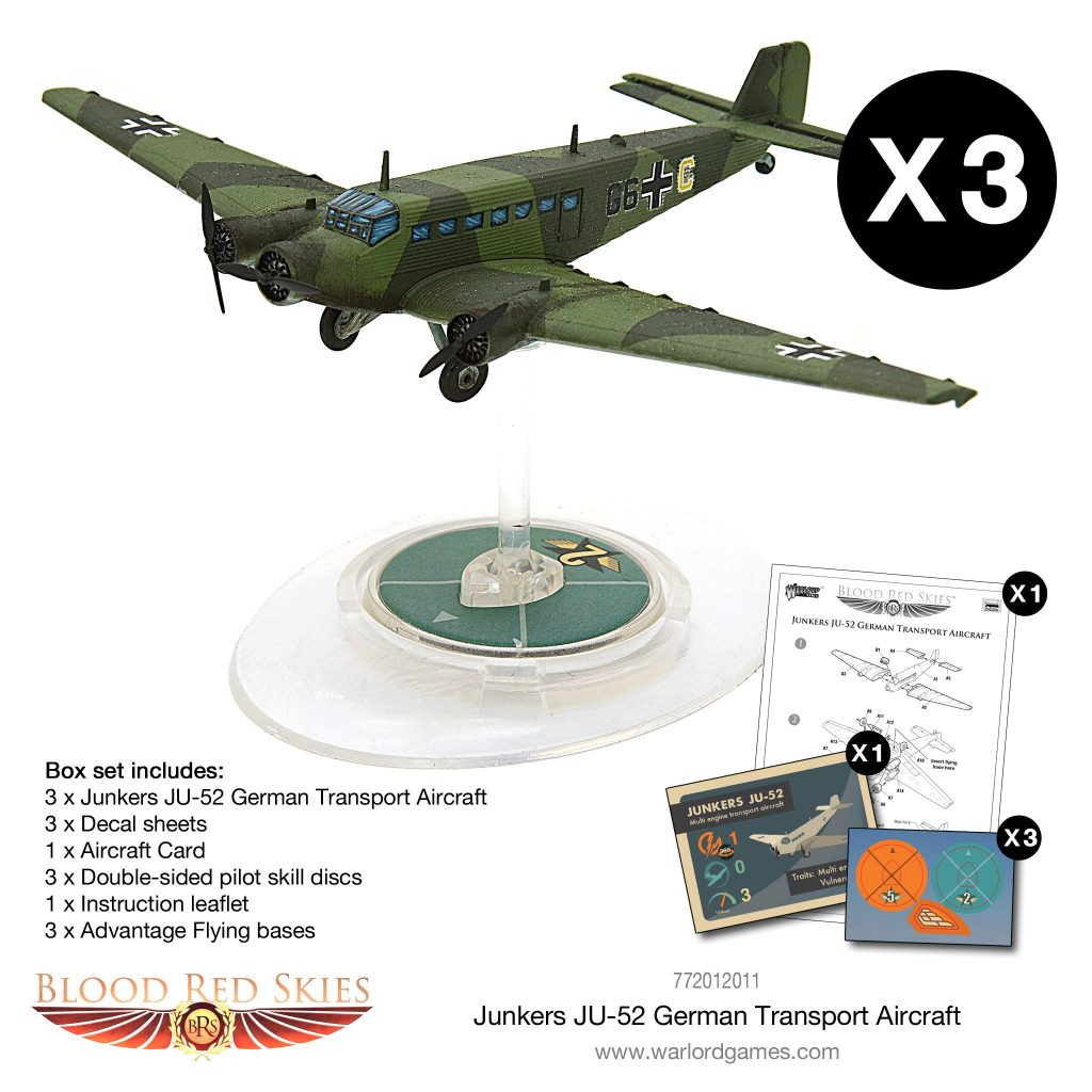 Junkers JU52 German Transport Aircraft Model - Blood Red Skies