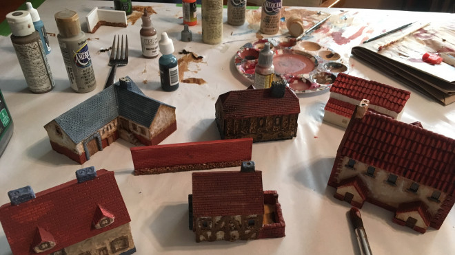 Painting buildings for 10mm Napoleonics & BBQ