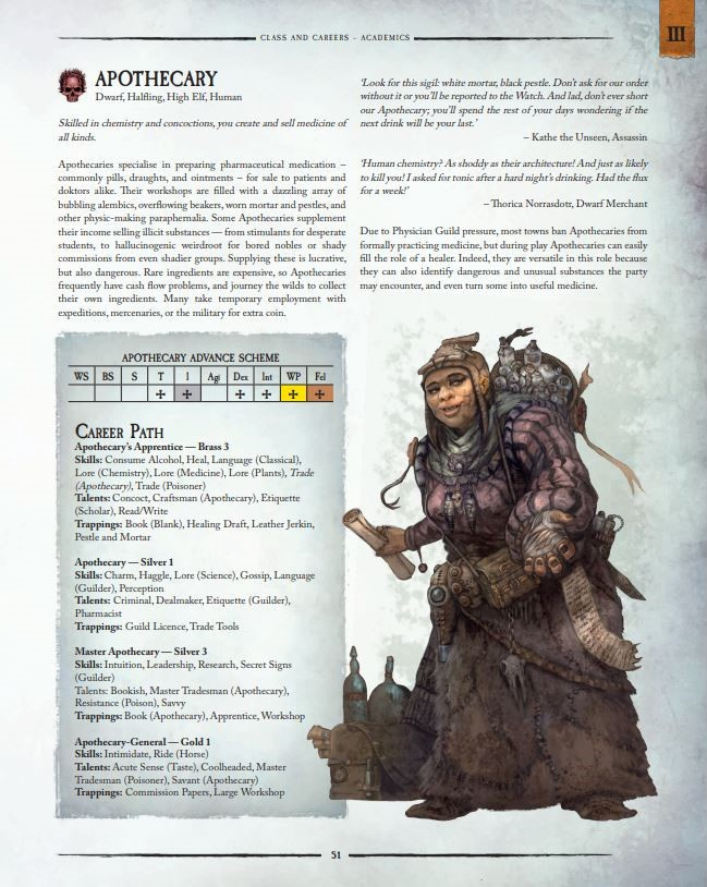 Apothecary Career - Warhammer Fantasy Role-Play