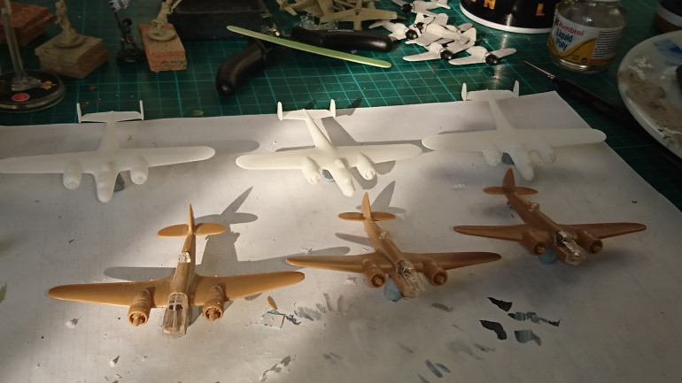 Six Bombers prepared these are 3x Bristol Blenheims and 3x Dorniers Do17P nicknamed the flying Pencil.