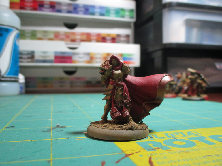 To start with today I had most of the base colors applied and ready for a wash.  I needed to fix some of the painting on the red cloak especially where it met the armor.