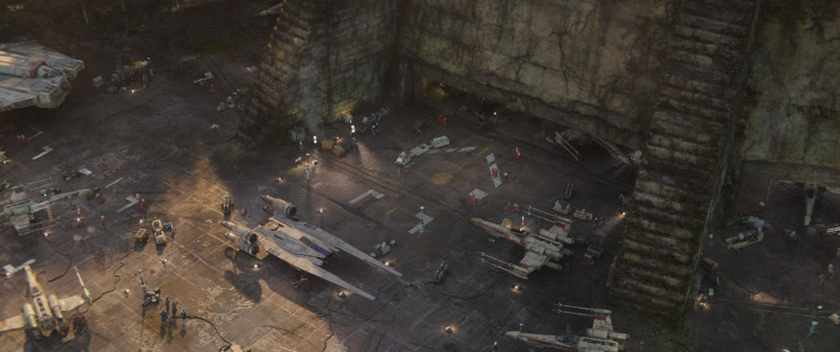 A shot from Rogue One showing the landing area nearer the Temple doors