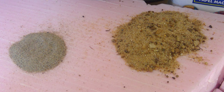 You can see the mix of sand and small pepples in the all purpose sand on the right, fine playground sand on the left.