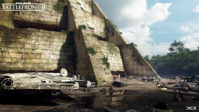 Image from the Battlefront 2 game showing the Falcon parked up