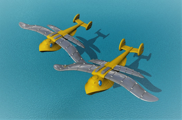 After doing more aircraft I found the seaplane transport was a bit small, and its wings quite bland, so I have created a updated version whith larger and more shaped wings. I also increased its overal size so it looks like it might fit at least a squad of intantry in there.