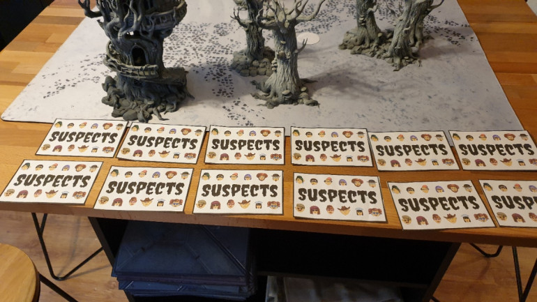 Lay out the Large suspect Cards