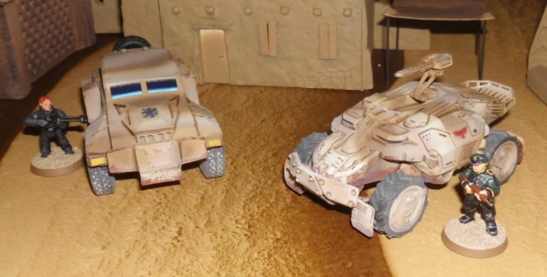 Harkonnen transport (left) and Atreides attack buggy (right)