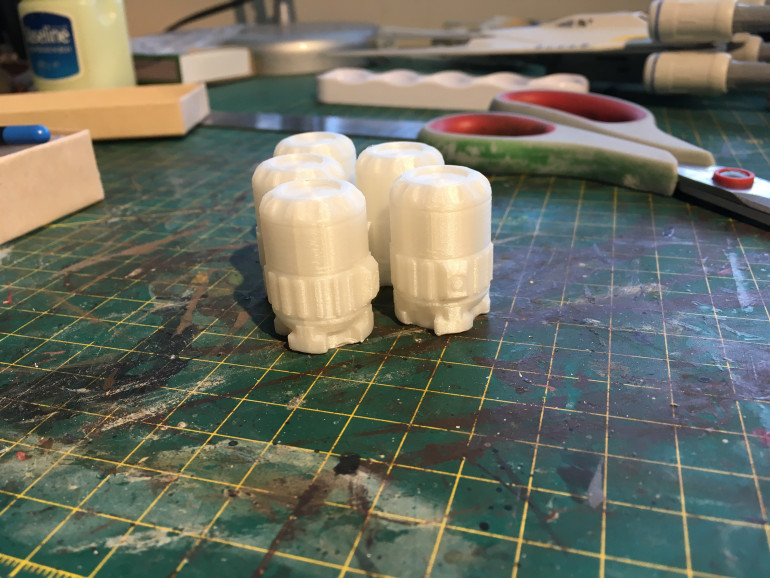 My friend was kind enough to print 5 of them for me. Print time was apparently 30mins per canister