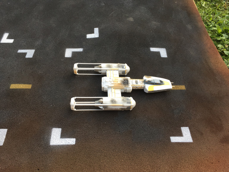 The small y wing fits I'm it! It should be noted that this has been roughly scaled for an Xwing