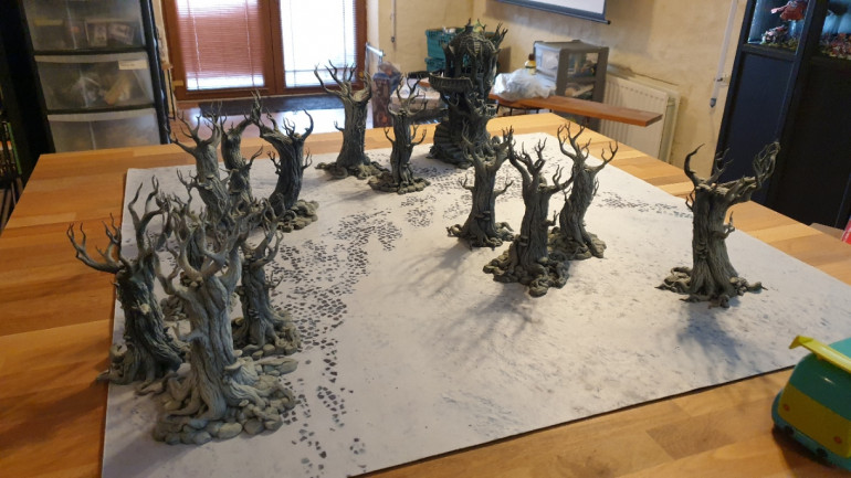Lay out a gaming table with some terrain. At this stage we are not concerned with table size or even terrain placement or density. The aim is mostly theme and style.