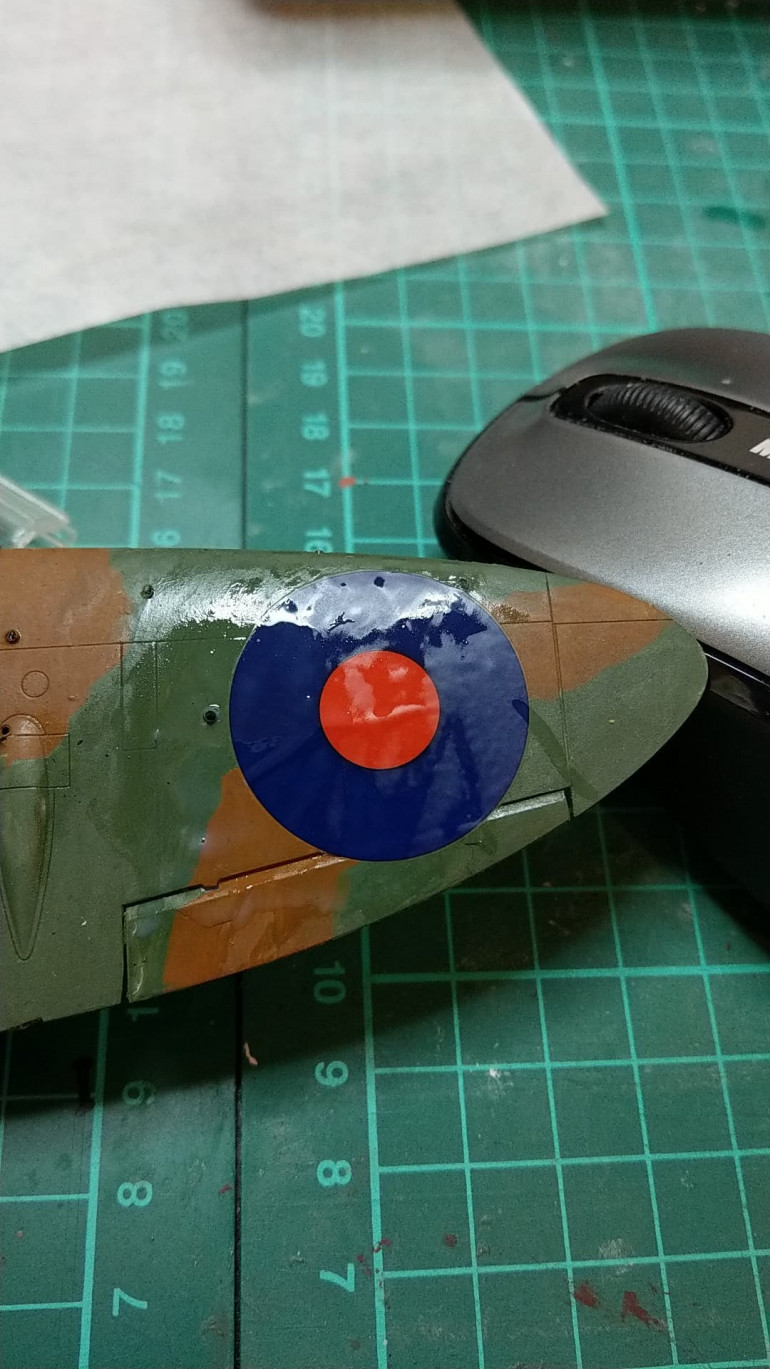 Applying decals.