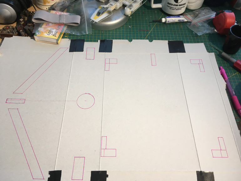 Started by making a template in cereal box cardboard
