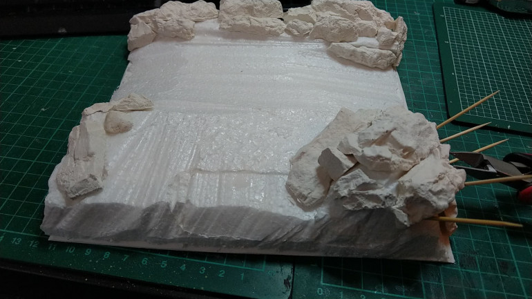 Starting to take shape with the rock formations