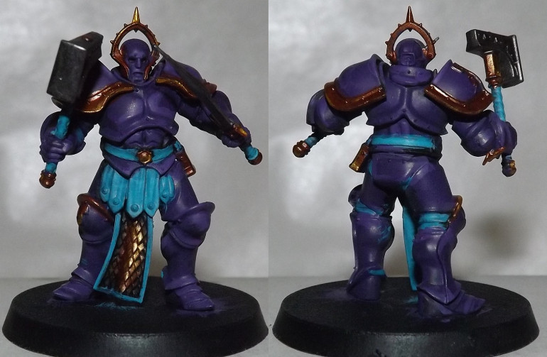 The second test mini done as an Astral Templar. Thought the purple pauldrons were too plain...