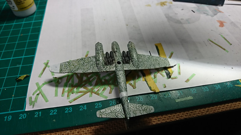 Next step is the white markings, on the underside of the wings and the fuselage. After this will be the addition of Decals however I have had to order some new ones as the ones that come with the kit are neither complete in that there are no swastikas for the tails, understand that this is because sometimes manufacturers leave these out so they can be sold. However the biggest thing is that the JU88s had letters under the wings and there is not enough to do all the planes. Anyway a quick order to miscellaneous miniatures in the US will have them here soon a very fast service.