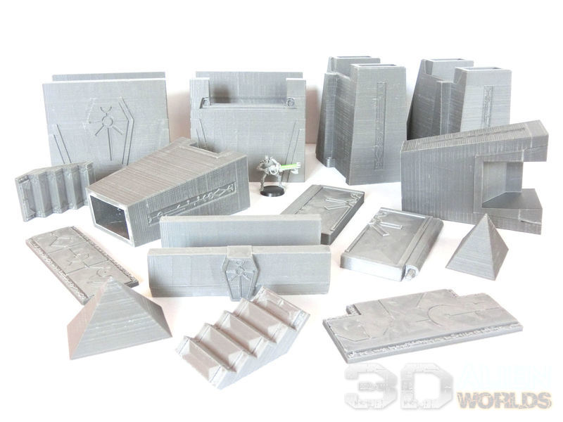 Necrontyr Tombcity Wall Set #3 - 3D Alien Worlds