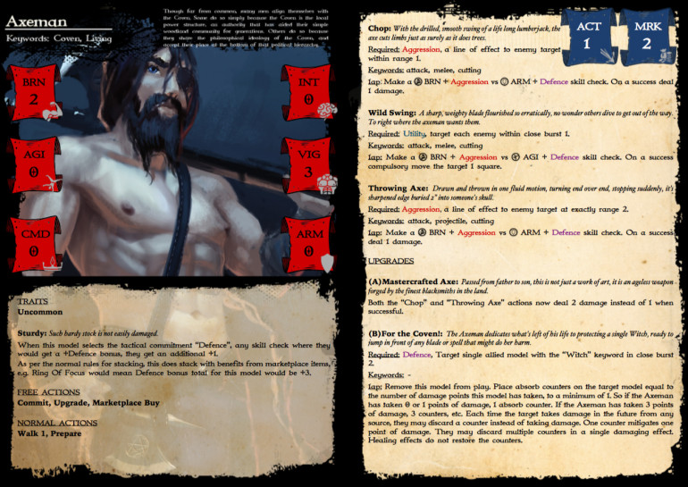 Rules card for the Axeman