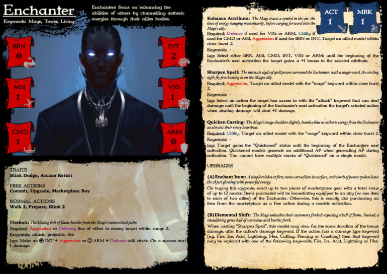 Rules card for the Enchanter